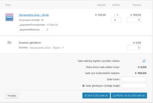 iyzico wordpress ödeme eklentisi sipariş kısmı