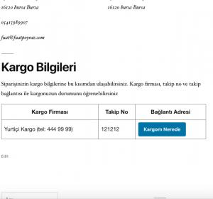 Müşteri kargo takip bilgilendirme ekranı