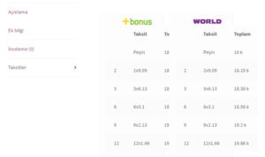 wooCommerce iyzico taksit tabı ekran görüntüsü
