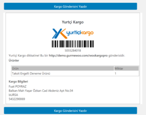 wooocommerce kargo entegrasyonu etiket yazdırma