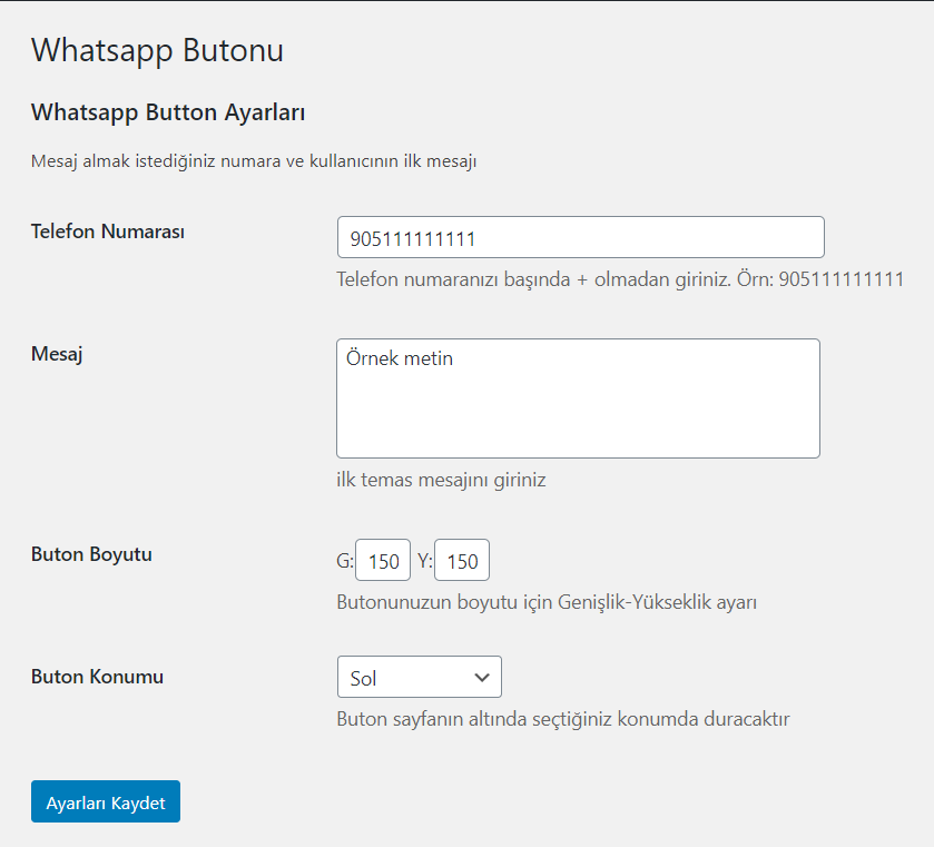 Whatsapp WordPress Eklentisi